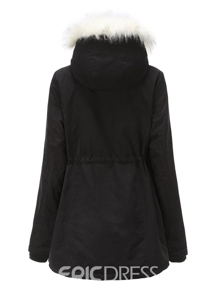 Ericdress Faux Fur Hooded Zipper Straight Mid-Length Women's Cotton Padded Jacket