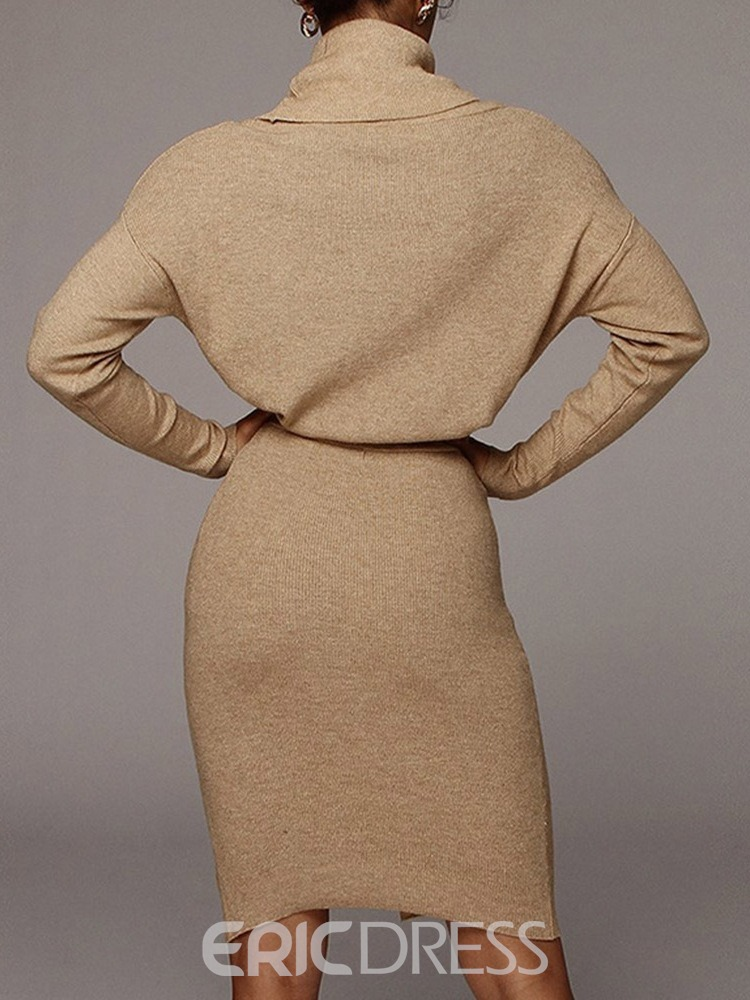 Ericdress Casual Button Sweater Bodycon Two Piece Sets