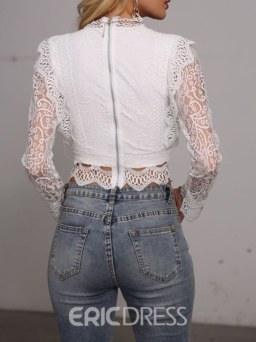 Ericdress Lace Up Hollow Ladylike Plain Short Long Sleeve Blouse