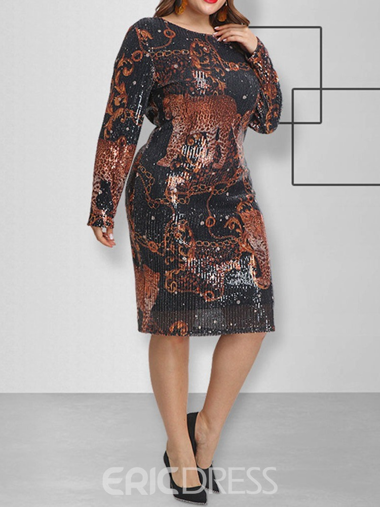 Ericdress Plus Size Mid-Calf Long Sleeve Sequins Animal Pullover Women's Dress