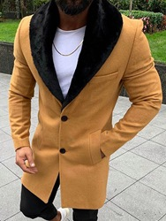 Ericdress Plain Color Mid-Length Style Casual Mens Coat фото