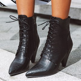 Ericdress Side Zipper Pointed Toe Casual Ankle Boots