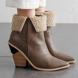 Ericdress Pointed Toe Color Block Side Zipper Thread Boots