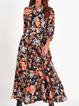 Ericdress Three-Quarter Sleeve Print Lapel Floral Mid Waist Women's Dress