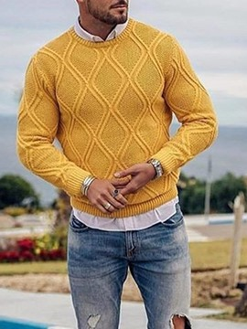 Ericdress Round Neck Style Plain Color Casual Slim Men's Sweater