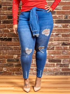 Ericdress Hole Plus Size Pencil Pants Slim Jeans