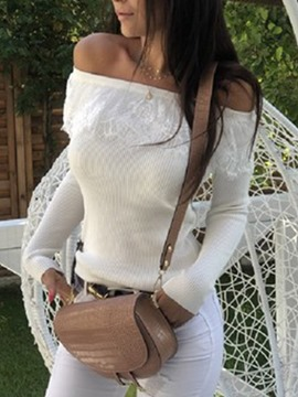 Ericdress Off Shoulder Elegant Patchwork Slim Sweater
