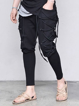 Ericdress Lace-Up Plain Pencil Style Hip Hop Men's Casual Pants