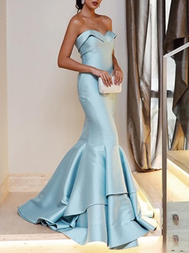 Ericdress Sleeveless Layers Floor-Length Mermaid Evening Dress 2020