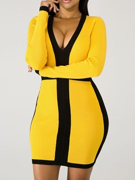 Ericdress Long Sleeve Patchwork Above Knee Sexy Color Block Women's Dress