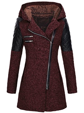 Ericdress Slim Patchwork Zipper Mid-Length Overcoat