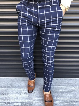 Ericdress Pencil Print Style Plaid Mid Waist Men's Casual Pants