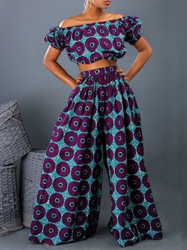 Ericdress Print Casual Off Shoulder Wide Legs Two Piece Sets
