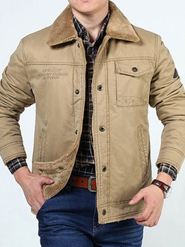 Ericdress Letter Pocket Lapel Single-Breasted Men's Jacket