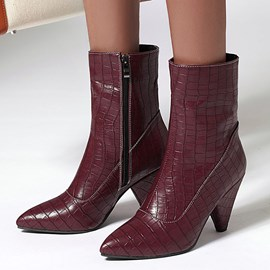 Ericdress Side Zipper Plain Pointed Toe Boots