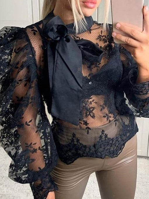 Ericdress Sexy See-enough Lace-up Bowknot Long Sleeve Standard Blouse
