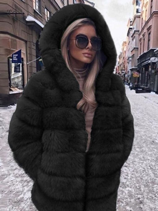 Ericdress Mid-Length Hooded Thick Straight Faux Fur Overcoat