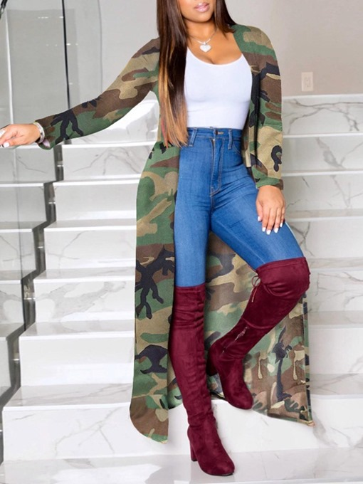 Ericdress Print Long Straight Long Sleeve Trench Coat