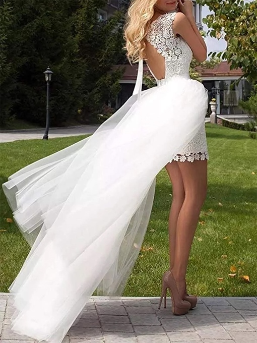 Ericdress Lace Cap Sleeves Scoop A-Line Beach Wedding Dress 2020