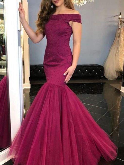 Ericdress Floor-Length Mermaid Off-The-Shoulder Sleeveless Evening Dress 2020