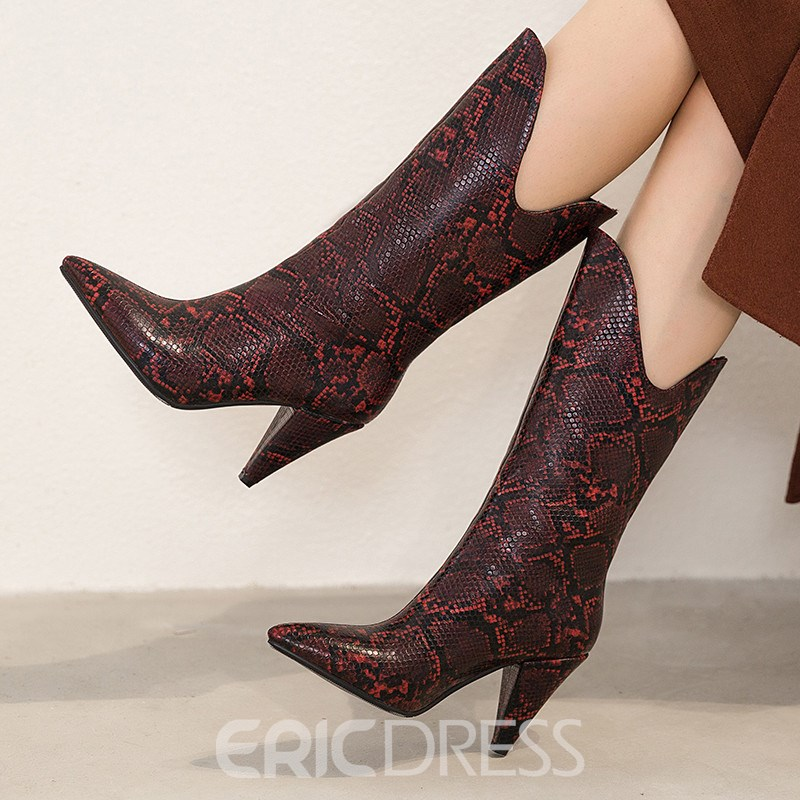 Ericdress Pointed Toe Color Block Slip-On Casual Women's Boots