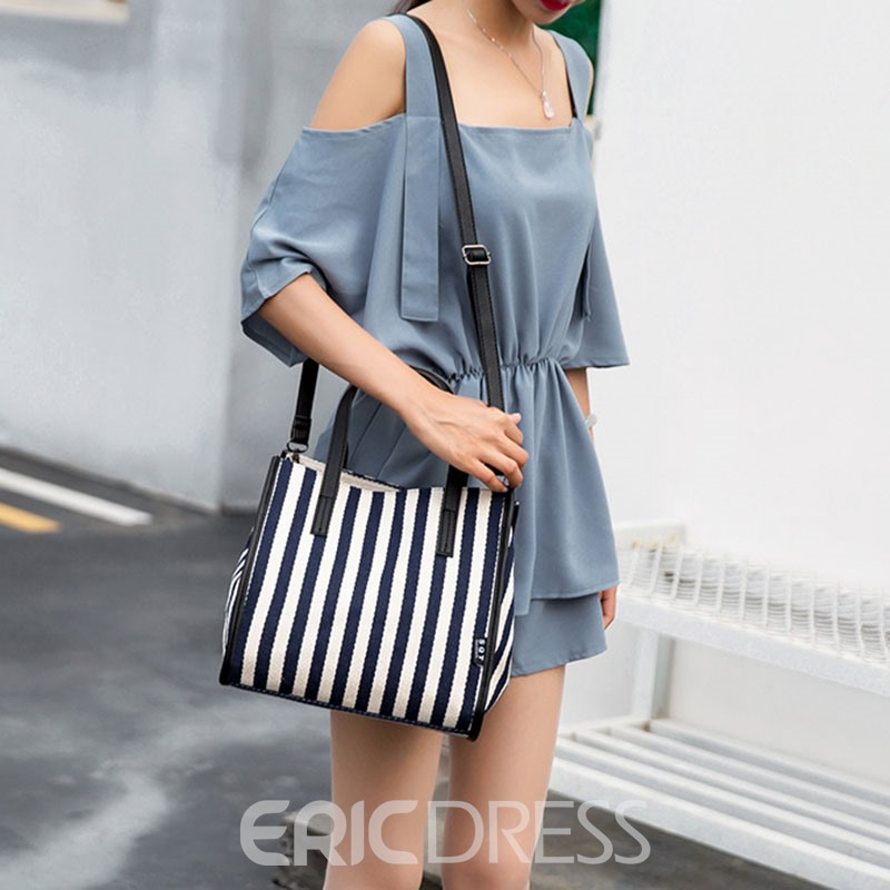 Ericdress Canvas Thread Stripe Wing Tote Bags