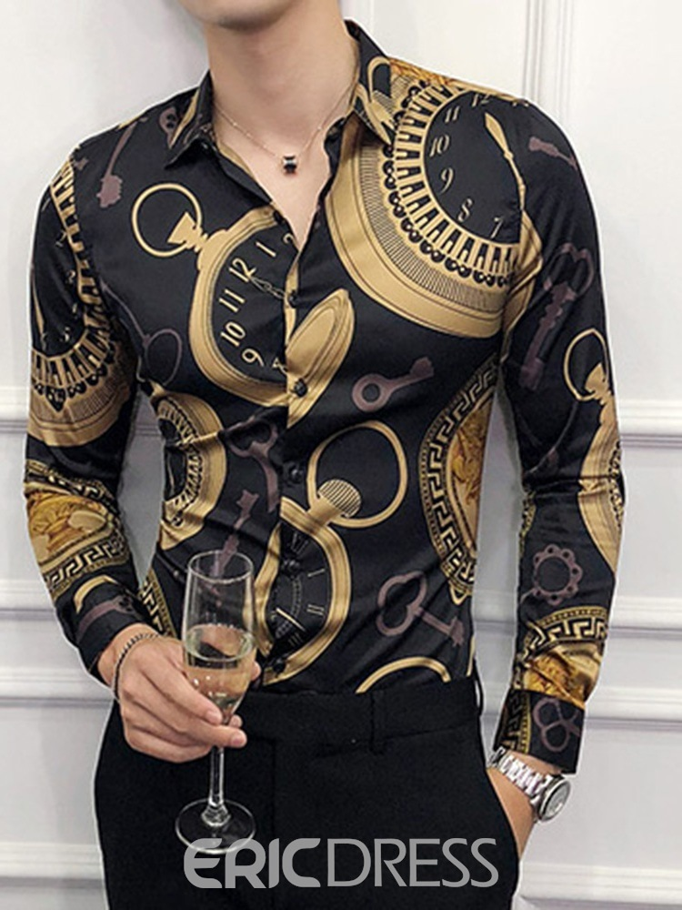 Ericdress Geometric Vintage Lapel Slim Style Single-Breasted Men's Shirt