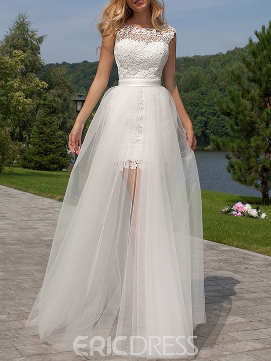 Ericdress Lace Cap Sleeves Scoop A-Line Beach Wedding Dress