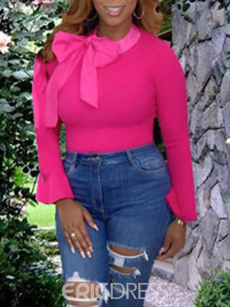 Ericdress African Fashion Flare Sleeve Bowknot Standard Slim Sweater