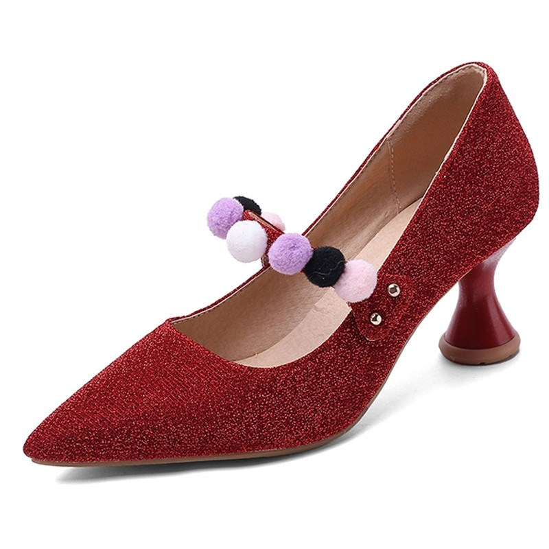 Ericdress Slip-On Pointed Toe Appliques Low-Cut Upper Pumps
