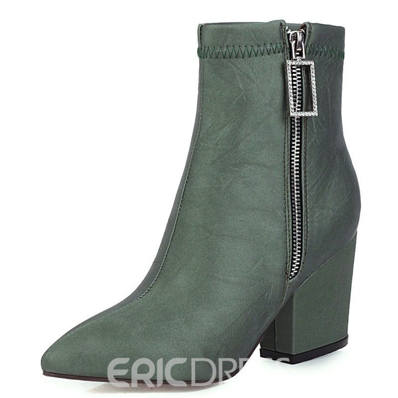 Ericdress Pointed Toe Chunky Heel Plain Casual Boots