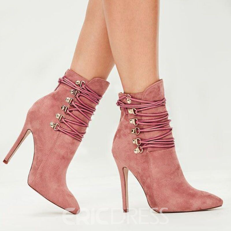 Ericdress Customized Pointed Toe Cross Strap Ankle Boots