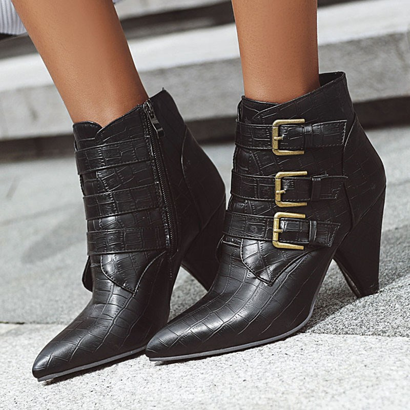 Ericdress Side Zipper Pointed Toe Plain Boots