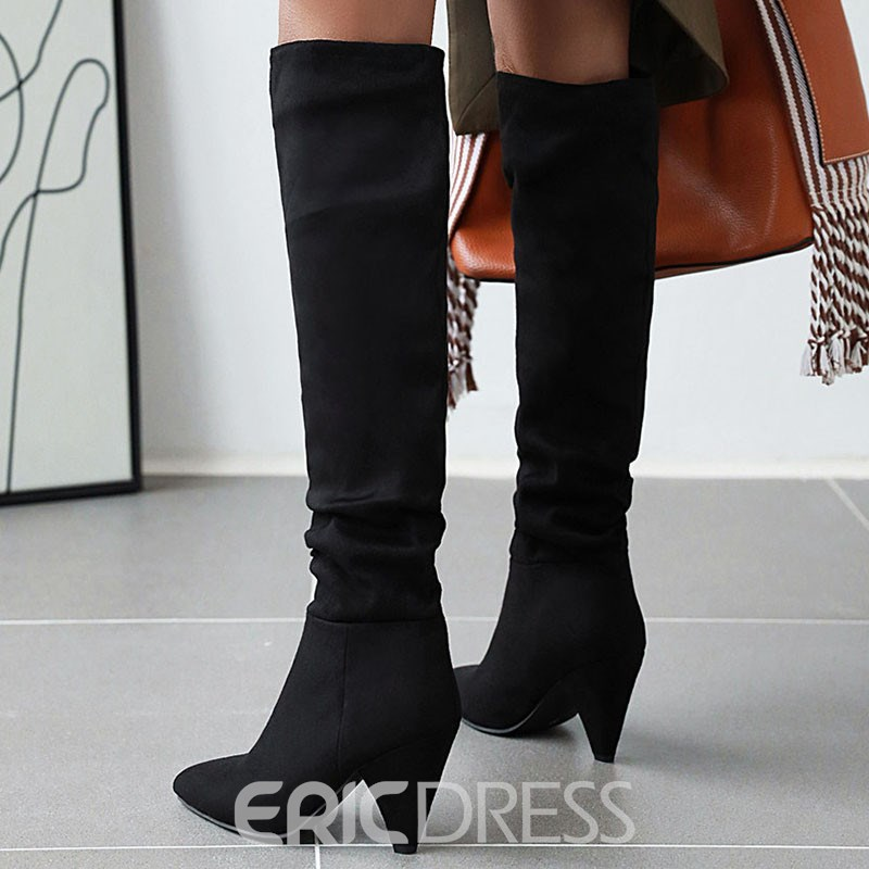 Ericdress Pointed Toe Color Block Slip-On Casual Boots