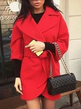 Ericdress Solid Lapel Slim Mid-Length Coat