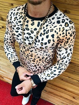 Ericdress Fashion Leopard Round Neck Long Sleeve Style Slim Men's T-shirt