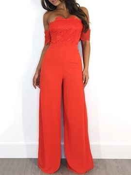 Ericdress Off Shoulder Patchwork Elegant Full Length Slim Wide Legs Jumpsuit