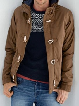 Ericdress Plain Color Style Casual Horn Button Men's Down Jacket
