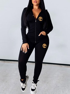 Ericdress Zipper Hooded Casual Two Piece Sets