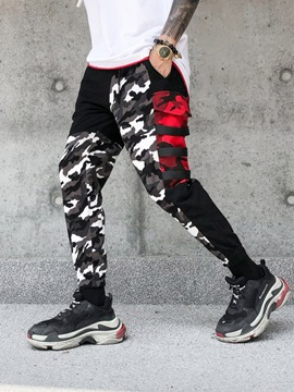 Ericdress Camouflage Color Pencil Style Print Mid Waist Men'sCasual Pants
