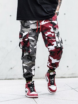 Ericdress Camouflage Color Print Overall Mid Waist Lace-Up Men's Casual Pants