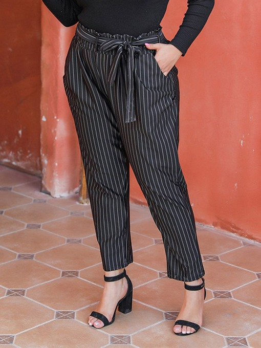 Ericdress Plus Size Slim Lace-Up Stripe High Waist Ankle Length Casual Pants