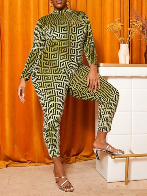 Ericdress Plus Size Casual Ankle Length Print Skinny Jumpsuit