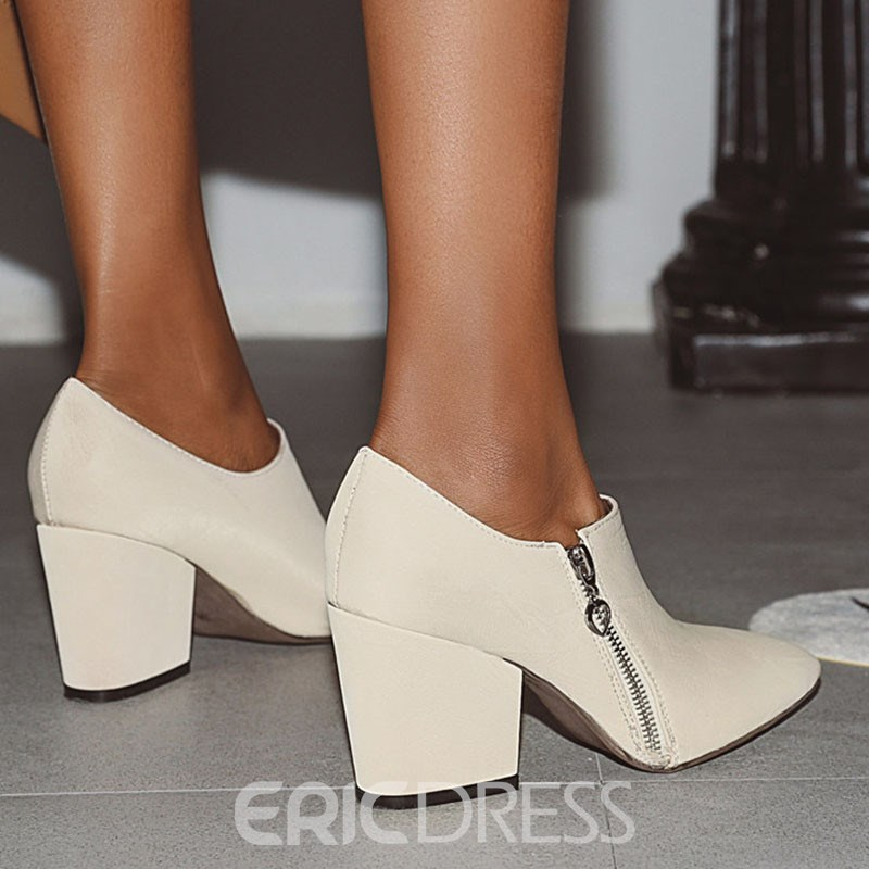Ericdress Plain Side Pointed Toe Zipper Casual Boots