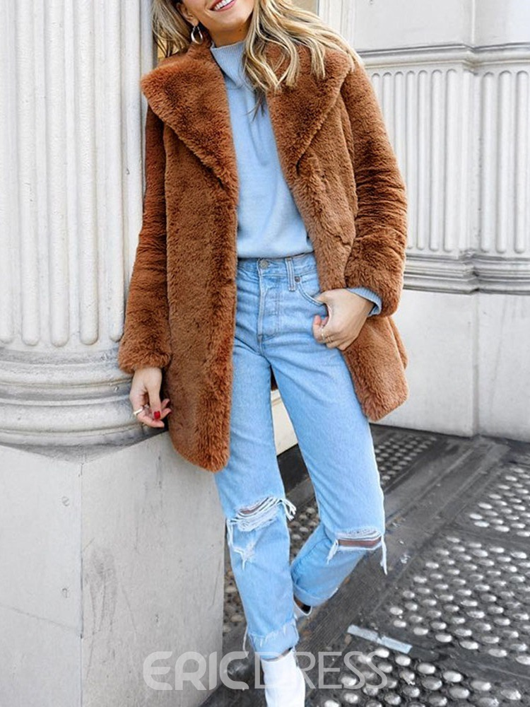 Ericdress Mid-Length Straight Thick Faux Fur Overcoat