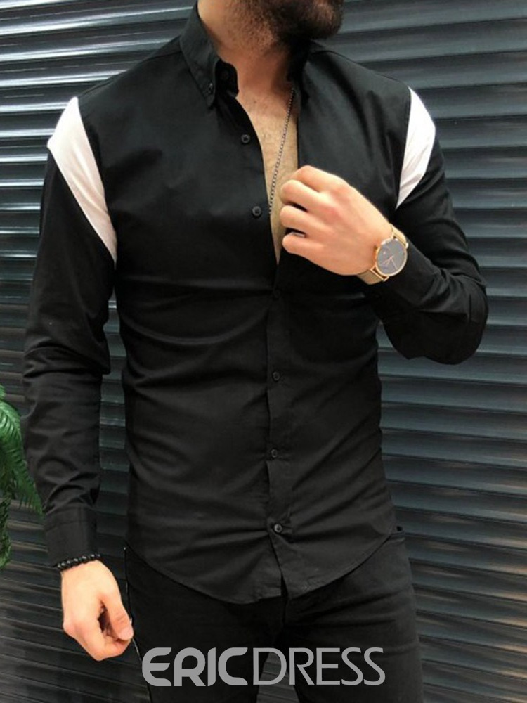 Ericdress Casual Style Lapel Color Block Single-Breasted Men's Shirt