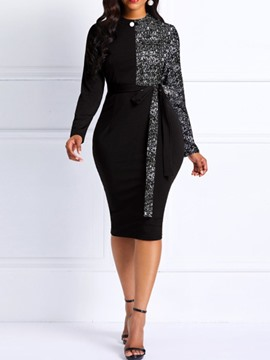 ericdress col rond mi-mollet manches longues robe moulante taille standard