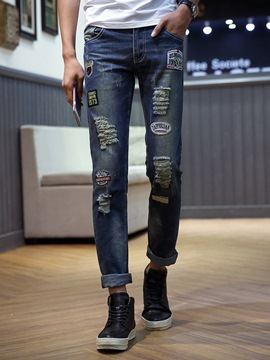 Ericdress Pencil Letter Hole Casual Mid Waist Men's Jeans