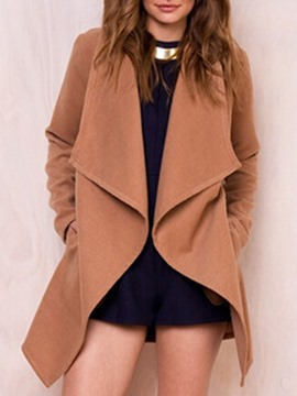 Ericdress Plain Regular Loose Mid-Length Overcoat