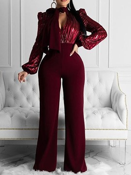 Ericdress Full Length Patchwork Office Lady Straight Slim Jumpsuit